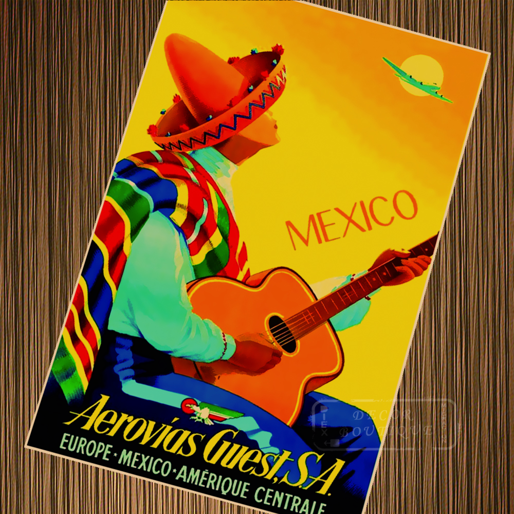 Mexico Summer Holiday Pop Art Travel Poster Vintage Retro Poster ...
