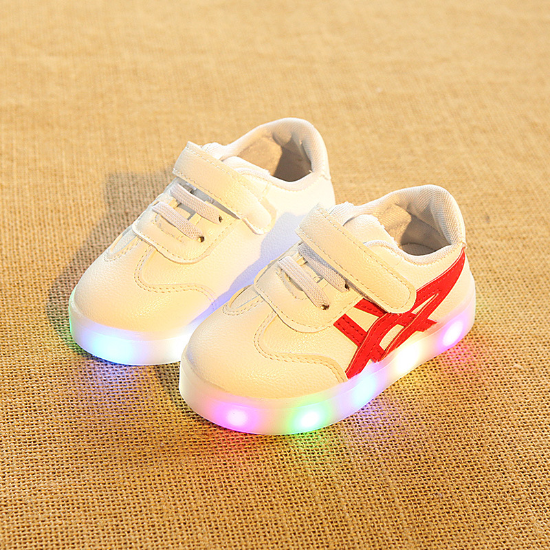 2017 New brand high quality Pu fashion baby casual shoes Lovely unisex boys girls sneakers hot sales kids baby LED shoes