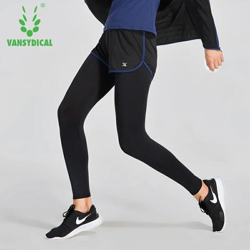 Women Running Pants with Shorts Low-waisted Compression Base Layer tights Sport Fitness Yoga Trousers GYM Elastic Leggings