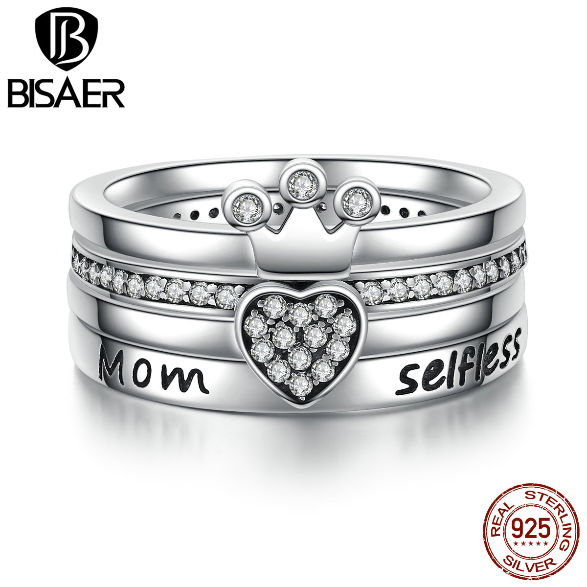 925 Sterling Silver Stackable Heart ,Crown ,Selfless Mom Ring for Women Clear CZ Authentic Silver Jewelry Gift ECR028 цена и фото