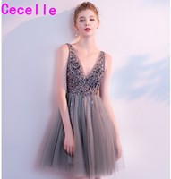 robe de soiree 2019 Grey A line Beaded Short Evening Dress With Sleeves Sexy V Neck Low Back Sparkly Informal Evening Gown