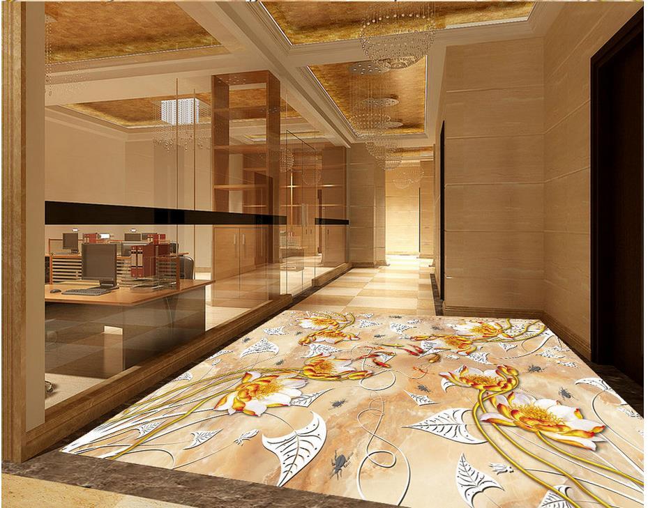 Lotus upscale relief Waterproof floor mural painting Custom Photo self-adhesive 3D floor Floor wallpaper 3d for bathrooms