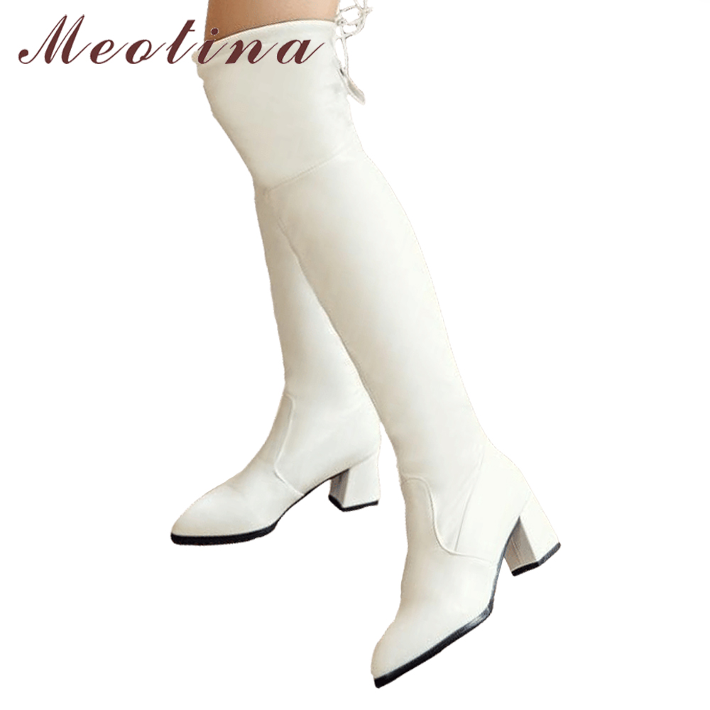 0da7a3d01676 Moeitna Thigh High Boots Women Winter Over the Knee Boots Chunky High Heel  Long Boots Bow Lace Up White Black Large Size 34 43