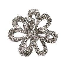 Винтажный вид чистый Чешский хрусталь большой цветок Выпускной шпильки на вечеринку брошь как серебро, так и золото