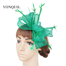 f7cab74b806f6 NEW 21 color arrival green Summer sinamay Fascinator hat with feather for kentucky  derby wedding party