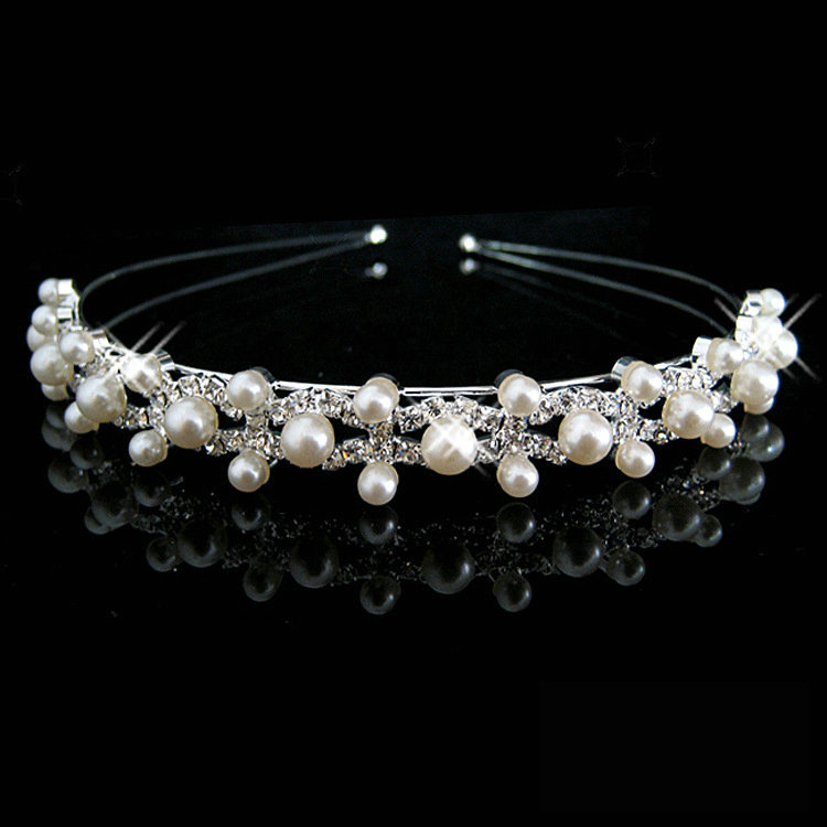 Sparking Crystal Rhinestone Pearl Headband Silver Wedding Party Tiara Hair band Bridal Hair Accessories Flower Girls Hairwear недорого