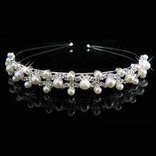 HOT Wedding Party Bridal Bridesmaid Flower Girl Double Faux Pearl Crown Headband Tiara цена