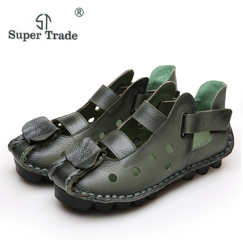New Personality National Wind Retro Handmade Leather Sandals Female Literary Head Skin Baotou Hole Women Sandals Leather Shoes