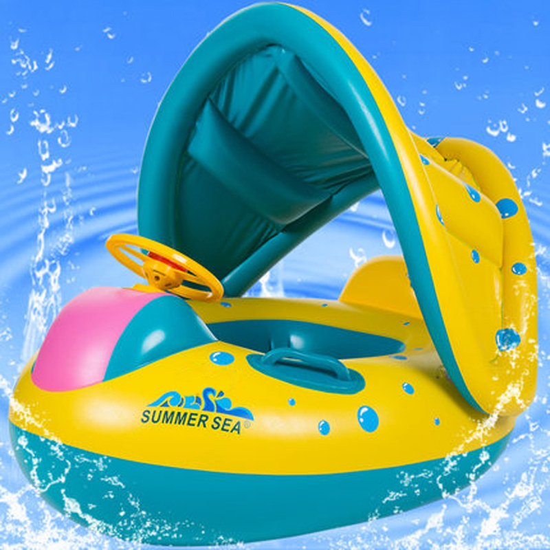 Inflatable Round Toddler Baby Ring Swimming Pool Inflatable Ring Float Seat Plastic Piscina With Canopy For Newborn