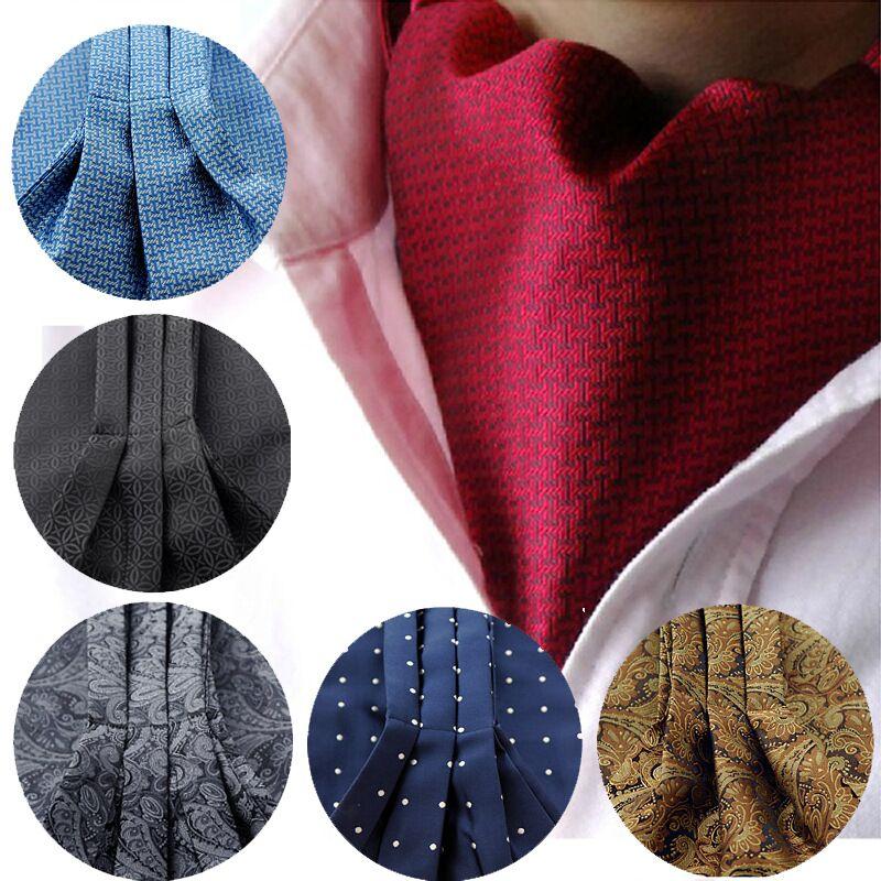 2017 nuevos hombres de moda corbata Polka Dot 100% Seda Ascot Cravat, Casual Jacquard Ties tejido tejido negro de la boda