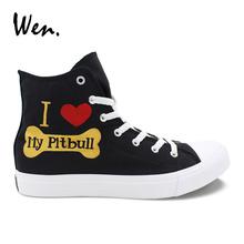 Wen Custom Vulcanize Shoes Hand Painted Shoes Pet Dog Pitbull Men Women's Canvas Sneakers High Top Black Espadrilles Laced Flat