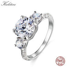 KLTR012 натуральная 925 серебро Jewellery 8 мм 2 карат CZ камень сердце и стрелы сократить Классический три Камни Обручение кольцо
