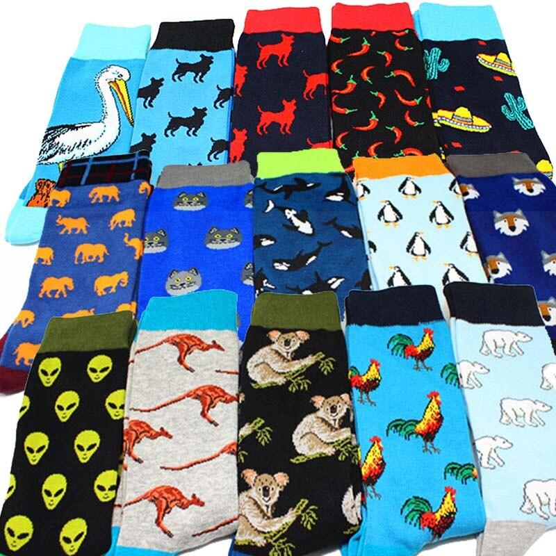 Cool Food Animal Hip Hop Crew Socks Funny Street Happy Socks Men Harajuku Divertidos Skateboard Chaussette Homme
