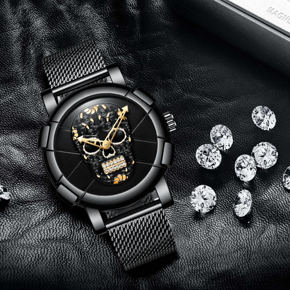3D Skull Black Stainless Steel Gold Rhinestone Wristwatch 1