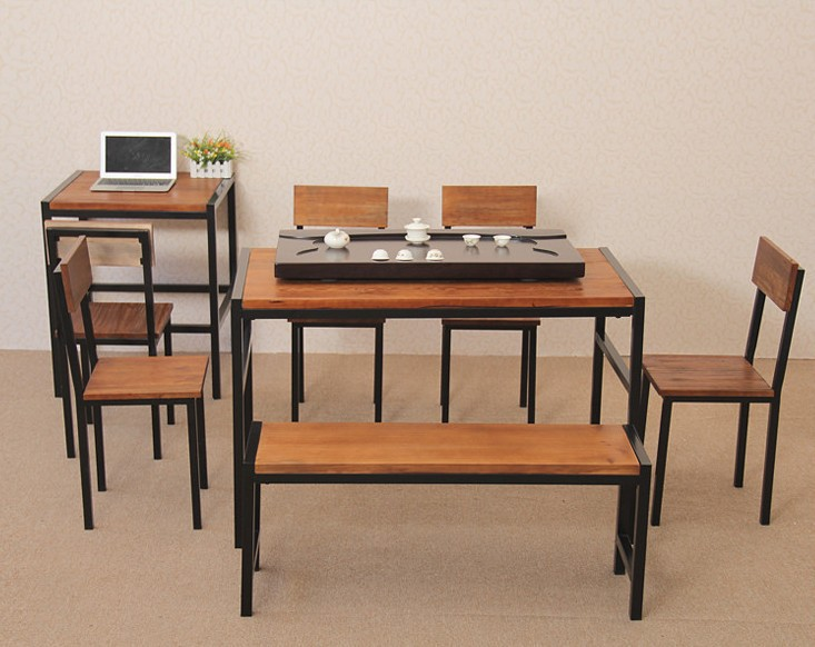 American Country Wrought Iron Wood Office Furniture Dinette Combination Of Rectangular Coffee
