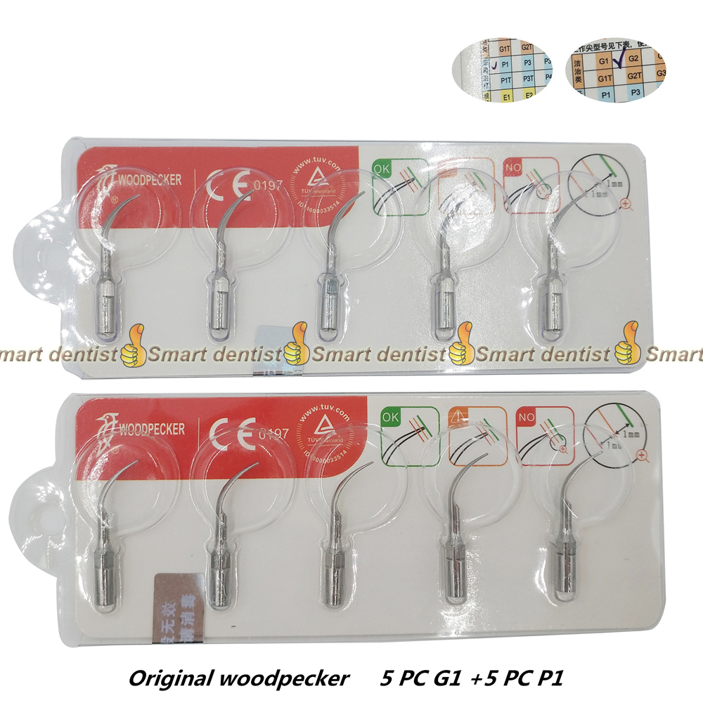 woodpecker Dental Scaler Tips Ultrasonic Scaler Scaling Tip set G1 + P1 compatible with EMS 1set dental piezo ultrasonic scaler unit built in dental scaler with led lights for woodpecker ems dentist chair teeth cleaning