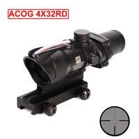ACOG 4x32 RD Real Fiber Optics Red Dot Illuminated Rifle Scope Tactical Optics Sight Hunting Riflescope