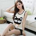 Pijamas de Las Mujeres Pantalones Cortos Chaleco Del Verano Amantes del Algodón ropa de Dormir Camisón Mujeres gato de la Historieta casa Pijama 442
