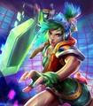 Nueva Llegada Ombre Recta Corta Verde A Azul Arcade Juego LOL Riven Cosplay Peluca de Pelo
