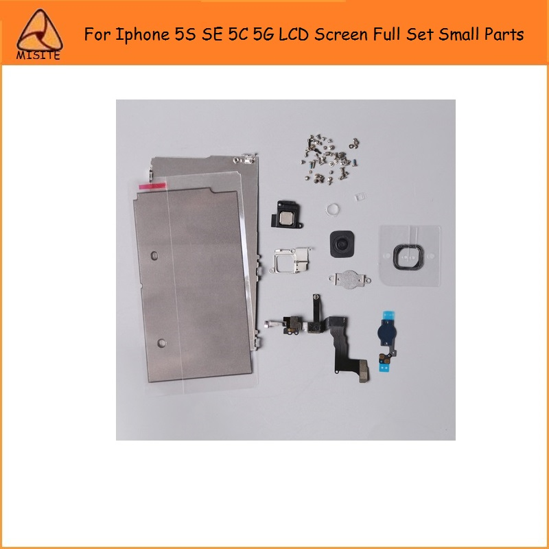 10PCS For i Phone 5S SE 5SE 5C 5 LCD Screen Full Set Small Parts+Home Button+Front Camera+Earspeaker+LCD Metal Shield Plate Flex