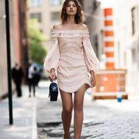 Painted Heart Contour Mini Dress Dot embroidered Puff Sleeve Off Shoulder Dresses With Contoured Panels And Balls Back Zip