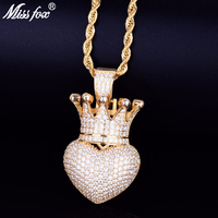 Missfox New Explosion Small Crown Love Pendant Chain Necklace Golden Copper Metal Simple Style Fascinating Hip Hop Jewels Trendy