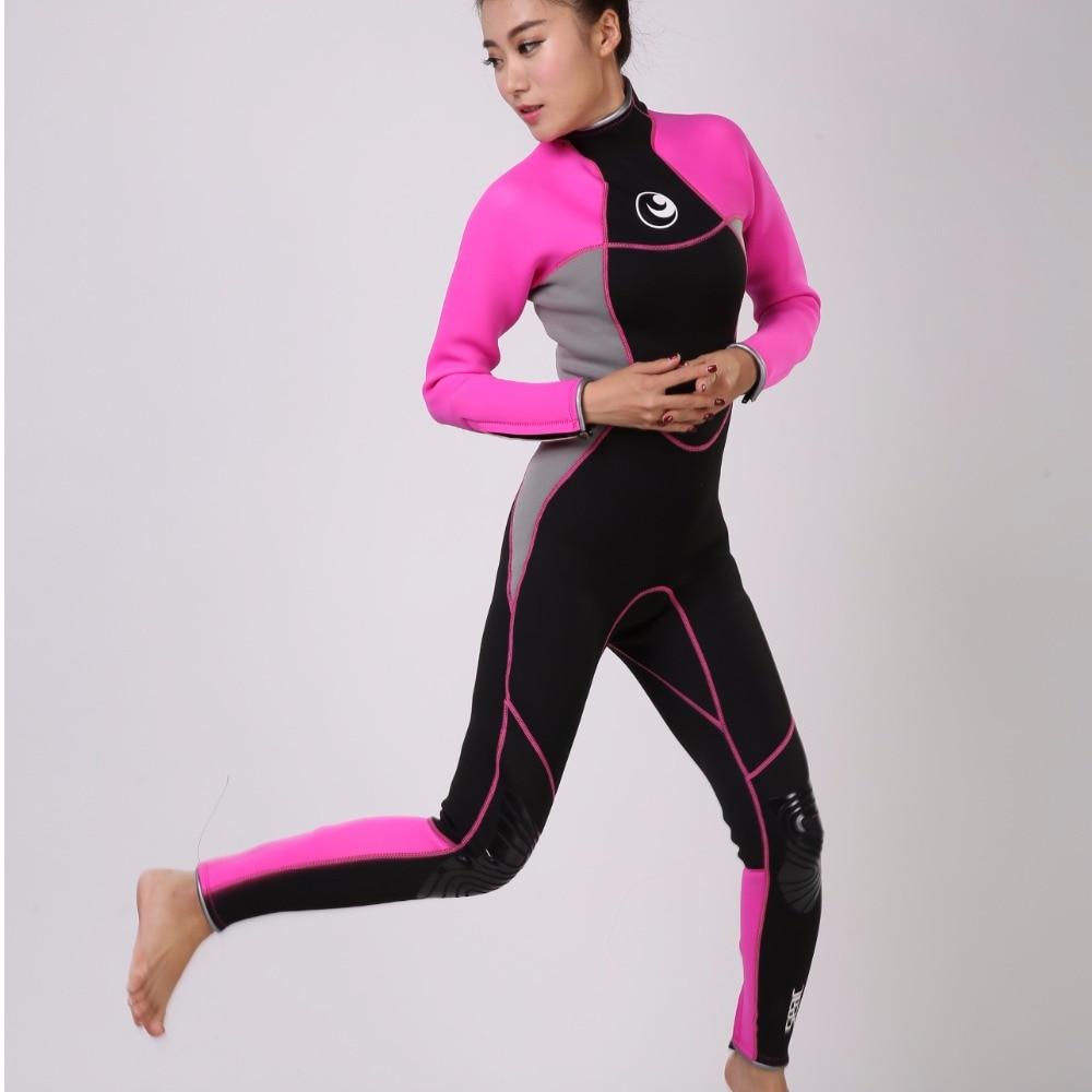 все цены на Hisea Women Wetsuit 3mm neoprene diving suit cool water full wetsuits