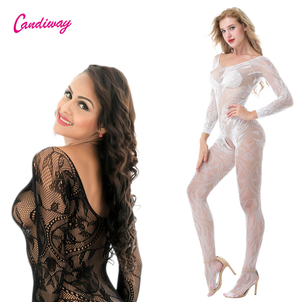 Sexy Lingerie Body Clothes Suspenders Mesh Stockings Lingerie Fishnet And Lace  Long Sleeved Floral Lace Crotchless Bodystocking