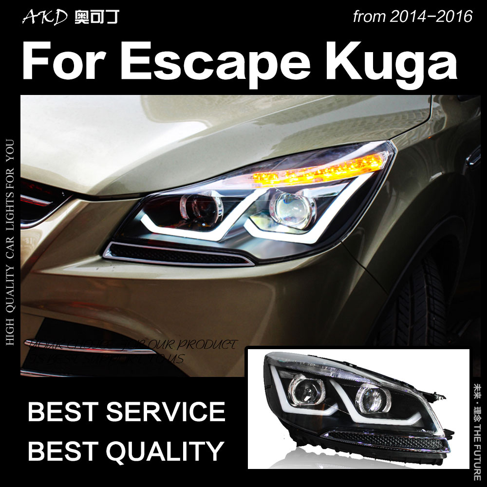 AKD Car Styling for Ford Escape Headlight 2014 2016 Kuga LED Headlight DRL Hid Head Lamp