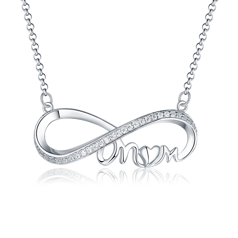 Wholesale Infinity Mom Necklace Silver 925 Jewelry Mothers Day Necklace Love For Mom Birthstone Neklace