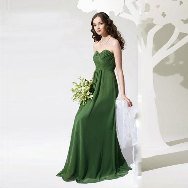 US $75.0 |2017 new arrival stock plus size high school 8 grade college  graduation dresses beautiful elegant green long chiffon sweetheart-in ...