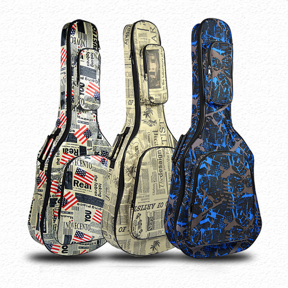 40/41 Guitar Bag Waterproof Protective Case for Guitar Folk Wooden Guitar Case with Shoulder Straps Easy Carry 41 inch classical acoustic guitar back carry cover case bag 5mm shoulder straps