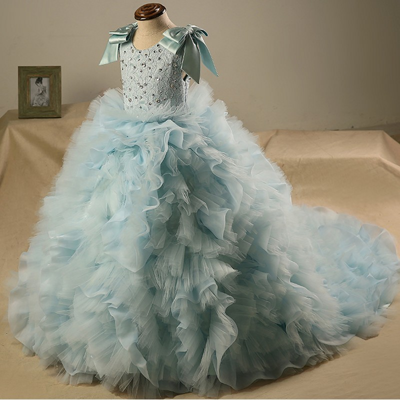 Can be customized 2016 new girls dress princess dress children party wear lace veil flower girl wedding dress baby girls dress super soft and comfortable girl party dress 2 16 years children wedding dress for girls brand girls wear