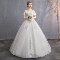 Do Dower Sexy Boat Neck Lace Up Wedding Dress 2019 New Princess Bride Gowns Flare Sleeve Vintage Dream Wedding Dress Casamento L