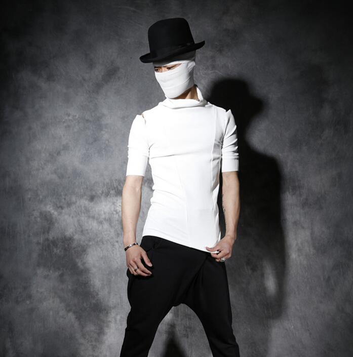 Summer short-sleeve tshirt men male personality stand collar strapless 1 slim t-shirt men camisa masculina black white korean