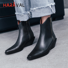 HARAVAL Fashion Ankle Boots Women Quality Genuine Leather Pointed Toe Low Heel Winter Shoes Solid Zipper Soft Chelsea B187