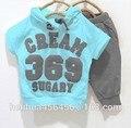 O envio gratuito de 369 conjuntos de preço de promoção de verão roupas crianças terno de varejo de moda venda única
