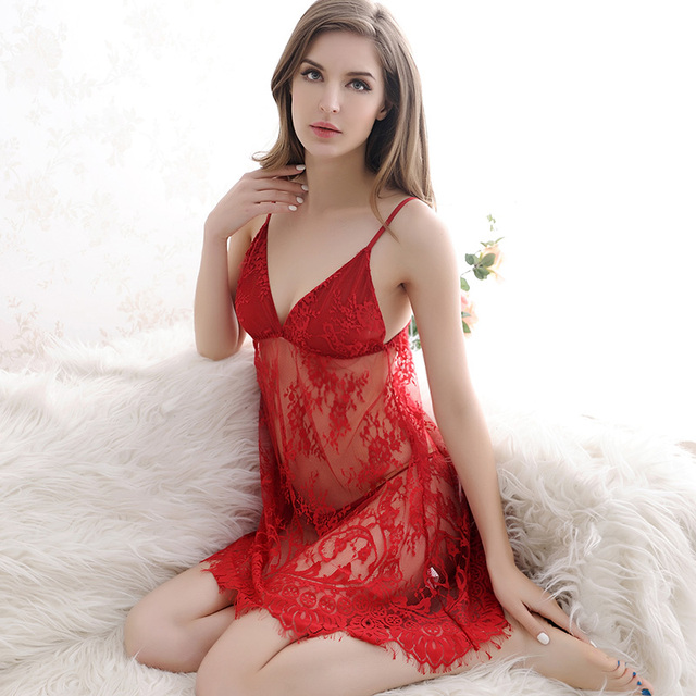 Free Shipping Women Sleeveless Strap Lace Embroidery Backless Hollow Out Tempting Slim Short Mini Sleepwear Nightdress in 2016