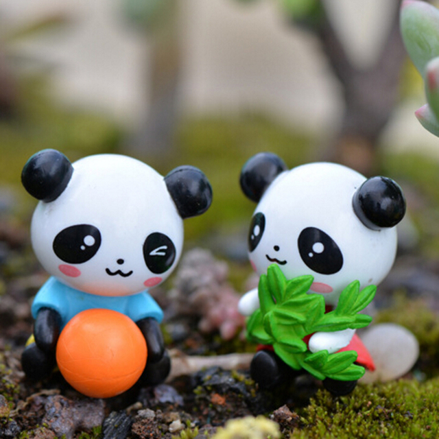Cute 4 Pcs Micro Landscape Decoration Furnishing Articles Fairy Garden  Ornaments Cartoon Panda Doll PVC Crafts