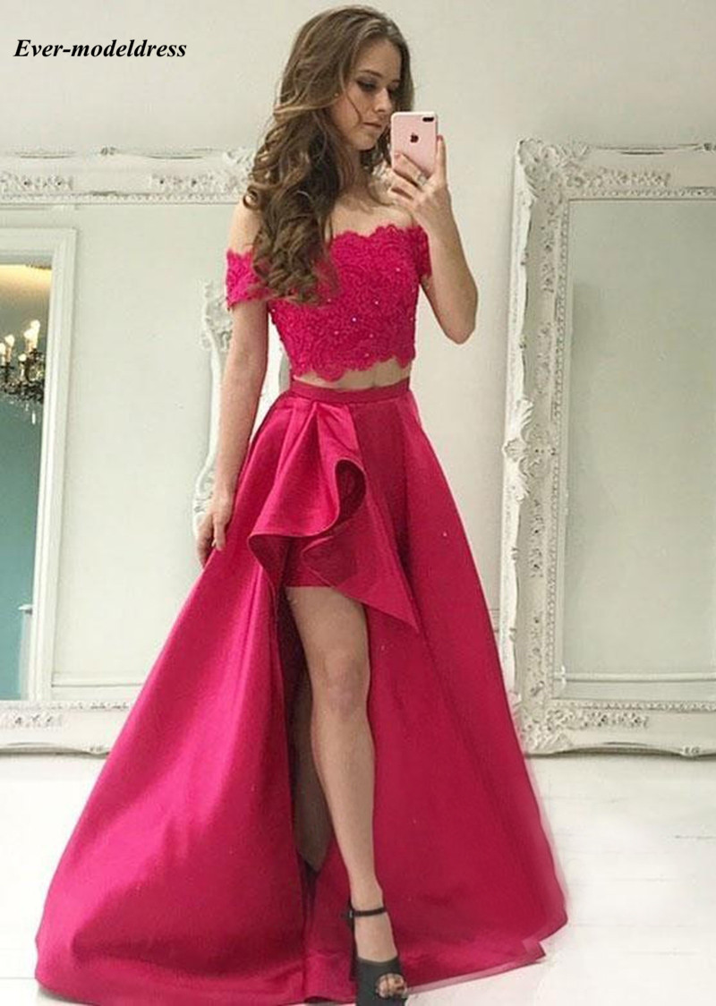 Two Pieces   Dresses     Bridesmaid     Dresses   For Wedding 2019 Lace Top Off Shoulder Beaded Sweep Train Prom Party   Dresses   Customized