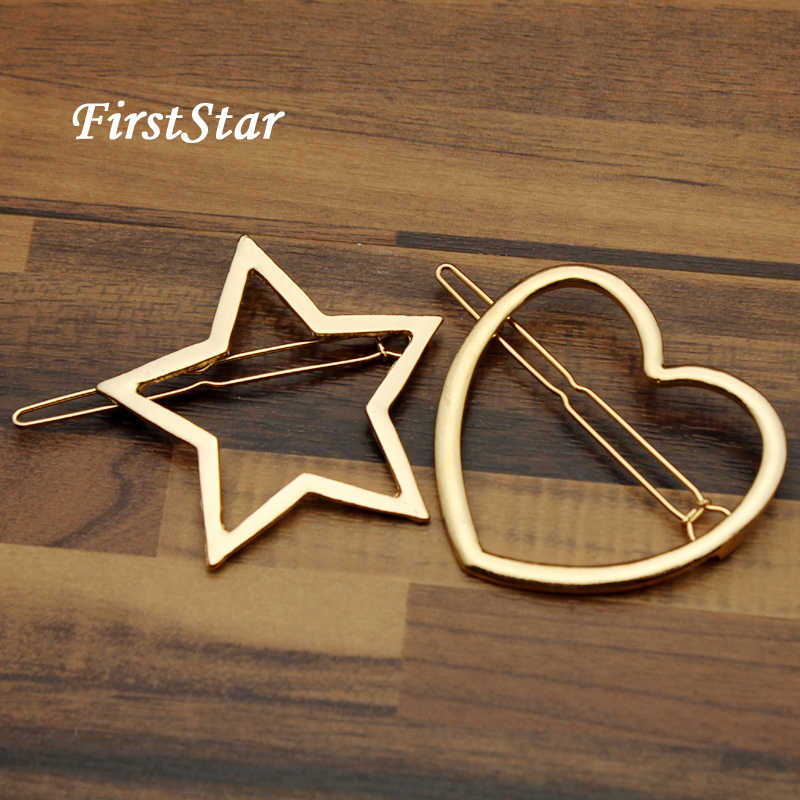 FirstStar Lovely Gold Metal Star Hair Clip Pin Heart Hairpins New Fashion Women Barrette For Kids Girls Accessories Jewelry