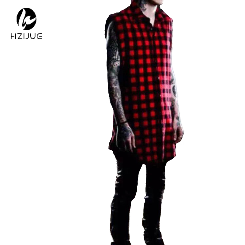 HZIJUE White / Red Plaid XXXL Long Back tõmblukk Streetwear Swag Man Hip Hop Skateboard Tyga T-särk T-särk Top Tees Meeste riided