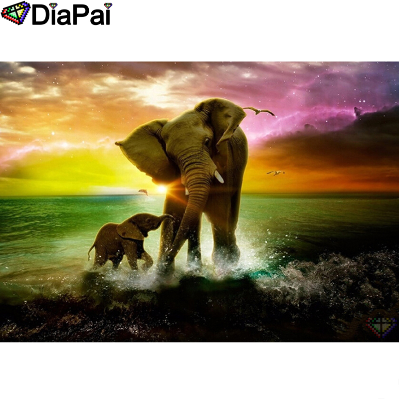 DIAPAI Diamond Painting 5D DIY 100 Full Square Round Drill quot Elephant bird quot Diamond Embroidery Cross Stitch 3D Decor A24461 in Diamond Painting Cross Stitch from Home amp Garden