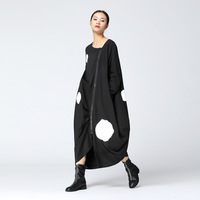 Korean Style Loose Long Dress Women 2017 Autumn New Casual Women Dress Long Sleeve Cotton Zipper