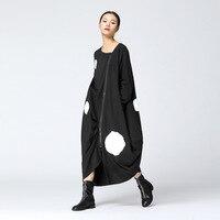 Korean Style Loose Long Dress Women 2017 Autumn New Casual Women Dress Long Sleeve Cotton Zipper