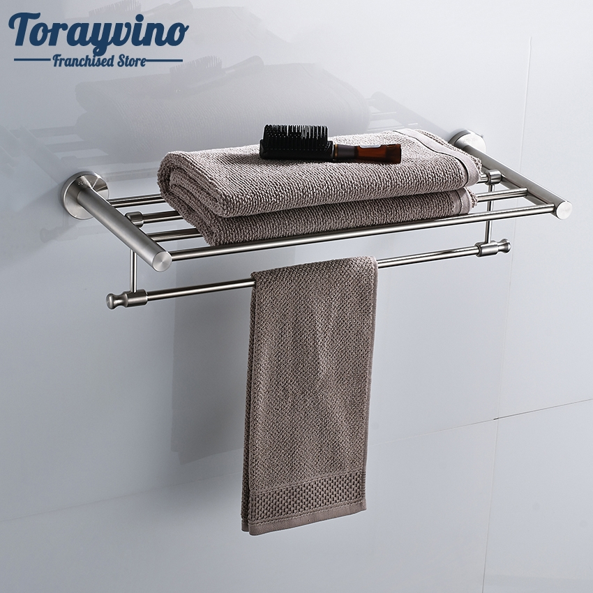 Torayvino Bathroom Towel Rock Wall Mounted Bath Towel Shelf Stainless Steel Nickel Brushed Towel Holder wall mount stainless steel nickel brushed bathroom bath towel shelf double towel rack towel bar