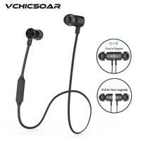 Vchicsoar TB48 Metal Magnetic Bluetooth Headphone Running Sports Wireless Headset Stereo Bass Earbuds Earphones With Microphone