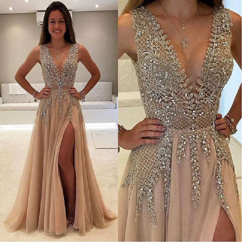 vestidos de fiesta de noche Champagne Sparkly   Prom     Dresses   2019 A Line Side Split Sexy V Neck Imported Party   Dress   Evening Gown