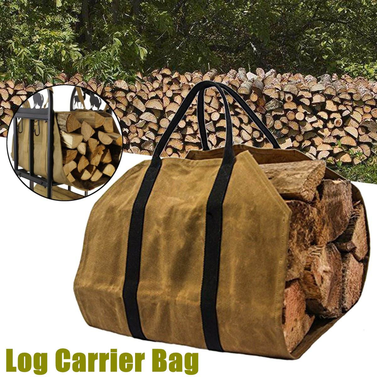 Us 12 43 16 Off Outdoor Tote Camping Carry Bag Canvas Firewood Carrier Log Storage Package Handles Home Kitchen Supplies In