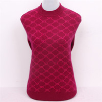 100%goat cashmere women's boutique net plaid thick pullover sweater half high collar red 2color S/90 5XL/125